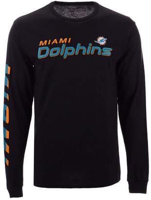 Authentic Nfl Apparel Men's Miami Dolphins Streak Route Long Sleeve T-Shirt