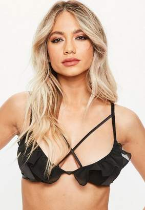 Missguided Black Satin Frill Soft Triangle Bra, Black
