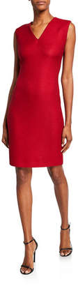 St. John V-Neck Sleeveless Refined Textured Float Knit Dress w/ Piping