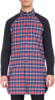 Givenchy Long Plaid Raglan-Sleeve Shirt