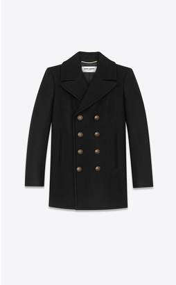 Saint Laurent Classic Pea Coat In Wool Felt