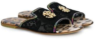 Roberto Cavalli lace slider sandals