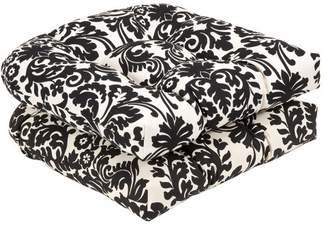 Pillow Perfect Indoor/Outdoor Black/Beige Damask Wicker Seat Cushions