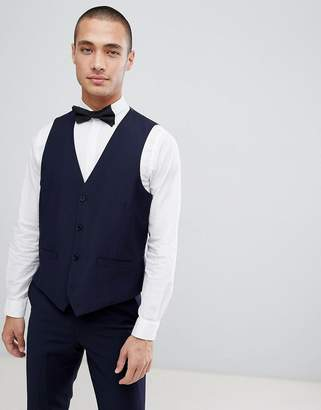 French Connection Slim Fit Peak Collar Tuxedo Vest