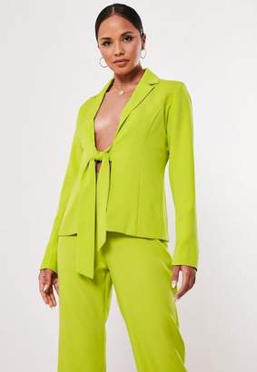 Missguided Lime Tie Front Co Ord Blazer
