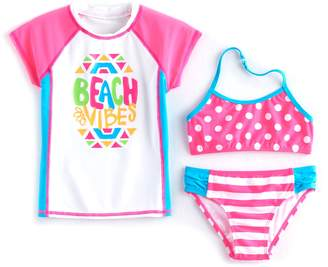 So Girls 4-6x SO Rashguard, Polka-Dot Bikini Top & Striped Bottoms Swimsuit Set