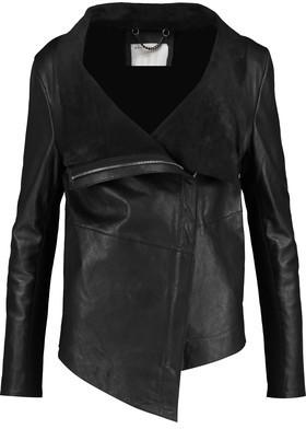 Muubaa Jersey-Trimmed Leather Biker Jacket $625 thestylecure.com