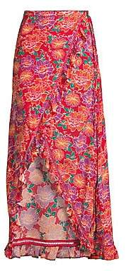 The Endless Summer Paloma Blue Paloma Blue Women's Stevie Floral Silk-Blend Wrap Skirt