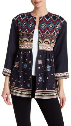Alice + Olivia Raleigh Embellished Linen Baby Doll Coat