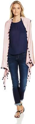 La Fiorentina Women's Silk Blend Long Kimono with Tassel Fringe
