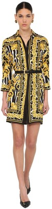 Versace PRINTED SILK TWILL SHIRT DRESS