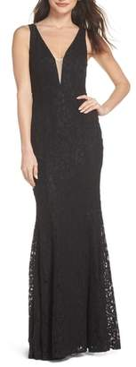 LuLu*s Plunging Neckline Lace Trumpet Gown
