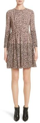 Women's Burberry Karinkalt Leather Trim Print Dress $795 thestylecure.com