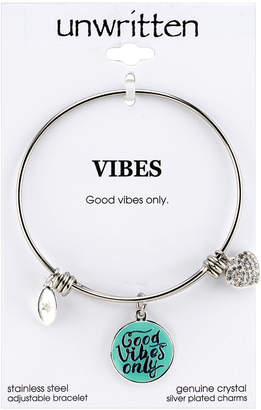 """Unwritten Good Vibes Only"""" Adjustable Charm Bangle Bracelet in Stainless Steel"""