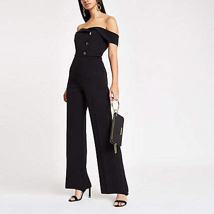 Womens Black bardot tux wide leg jumpsuit