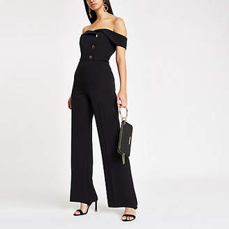 River Island Black bardot tux wide leg jumpsuit