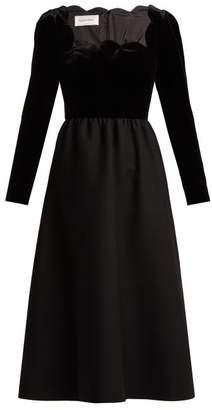 Valentino Scalloped Edge Wool And Silk Blend Midi Dress - Womens - Black