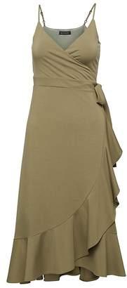 Banana Republic Soft Ponte Ruffle-Wrap Dress