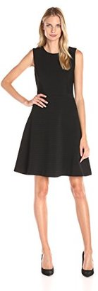 Tommy Hilfiger Women's Sleeveless Fit and Flare Rail Road Rib Knit $36.19 thestylecure.com