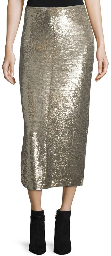 IRO IRO Bump Sequin Midi Skirt, Gold