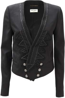 Saint Laurent Embroidered Spencer Jacket In Black Gabardine.