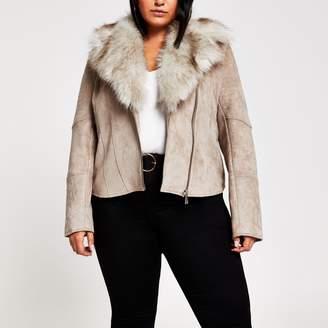 River Island Womens Plus Beige faux fur trim biker jacket