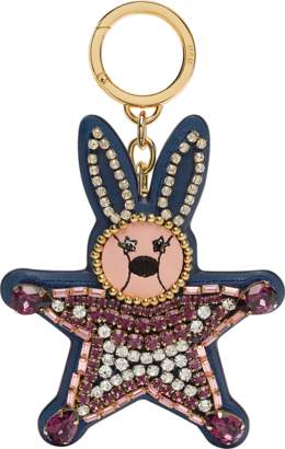 MCM Crystal Star Rabbit Charm In Leather