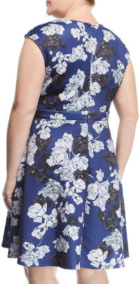 Alexia Admor Plus Keyhole Fit-and-Flare Dress, Plus Size