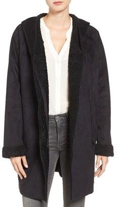 Women's Rachel Roy Hooded Faux Shearling Coat $228 thestylecure.com