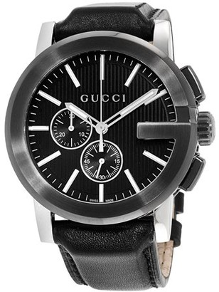 f6beeec734f Gucci G-Chrono Black Dial Leather Strap Men s Watch YA101205