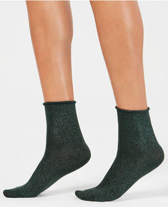 Hue Metallic Roll-Top Shortie Socks