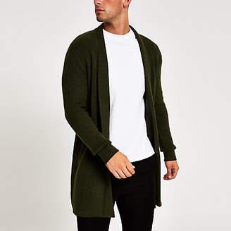 River Island Green long sleeve foldback collar cardigan