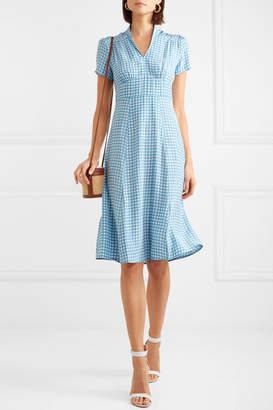 Morgan HVN Gingham Silk Crepe De Chine Midi Dress - Blue