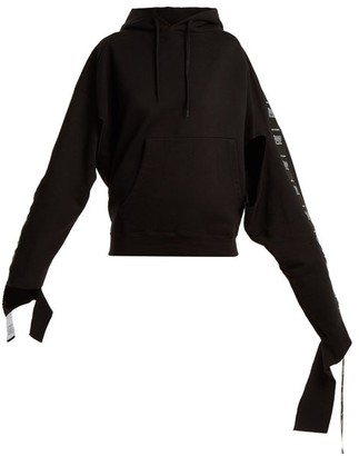Vetements - Hooded Tape Trimmed Sweatshirt - Womens - Black