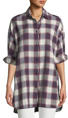 Elizabeth and James Clive Button-Down Oversized Plaid Shirt w/ Back Slit