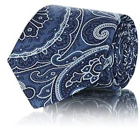 Kiton Men's Paisley Silk Faille Necktie - Blue
