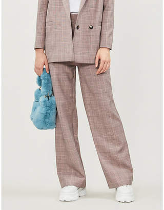 Ganni Hewitt checked high-rise wide woven trousers