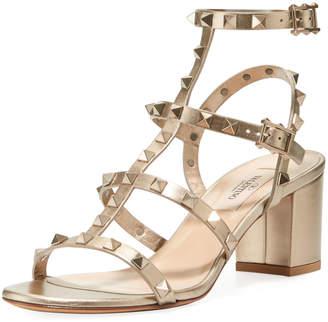 Valentino Metallic Rockstud Sandals