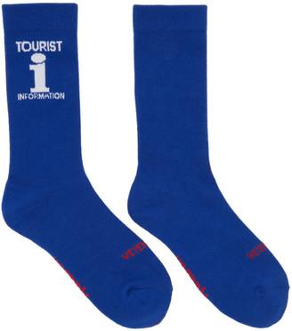 Vetements Blue Reebok Edition 'Tourist' Socks $95 thestylecure.com