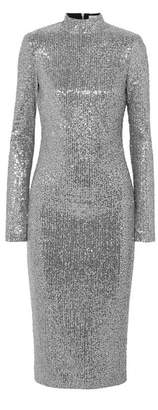 Rebecca Vallance Andree Sequined Lurex Midi Dress - Silver