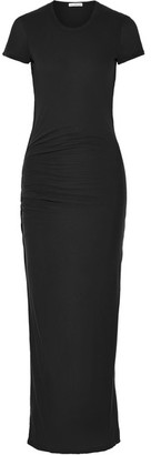 James Perse - Ruched Cotton-jersey Maxi Dress - Charcoal $275 thestylecure.com