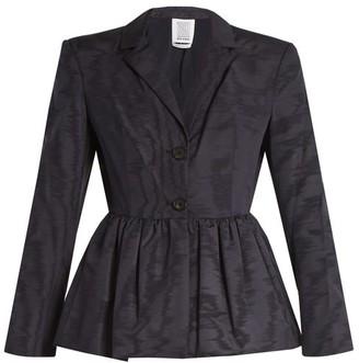 Rosie Assoulin Peplum Hem Silk And Wool Blend Moire Jacket - Womens - Navy