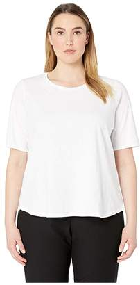 Eileen Fisher Plus Size Slubby Organic Cotton Jersey Roundneck Elbow Sleeve Top