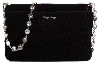 Miu MiuMiu Miu Crystal Strap Quilted Velvet Shoulder Bag - Black