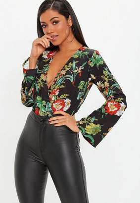 Missguided Black Dark Floral Plunge Front Bodysuit