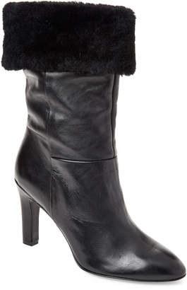 Gabriella Black Real Fur-Cuffed Leather Booties