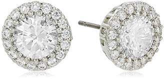 Kenneth Jay Lane Cz By Women's Round Cubic Zirconia Stud Earrings With Halo