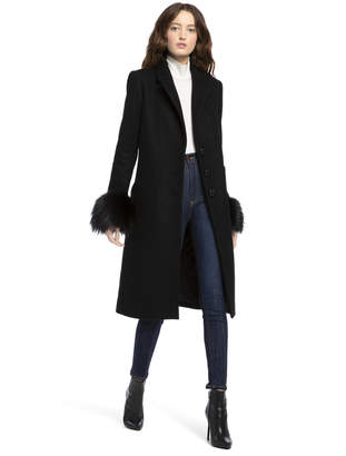 Alice + Olivia Jacoby Removable Fur Cuff Coat
