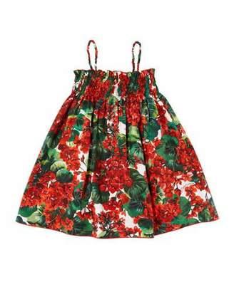 Dolce & Gabbana Geranium Print Smocked Poplin Dress, Size 8-12