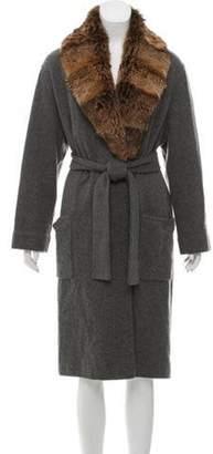 Loro Piana Fur Trimmed Cashmere Cardigan Grey Fur Trimmed Cashmere Cardigan